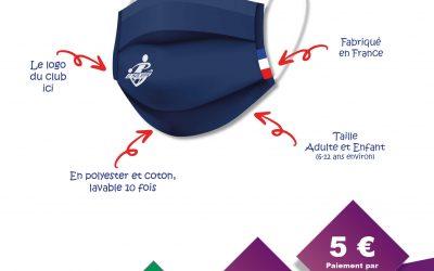 Vente de masques personnalisés avec le logo du club