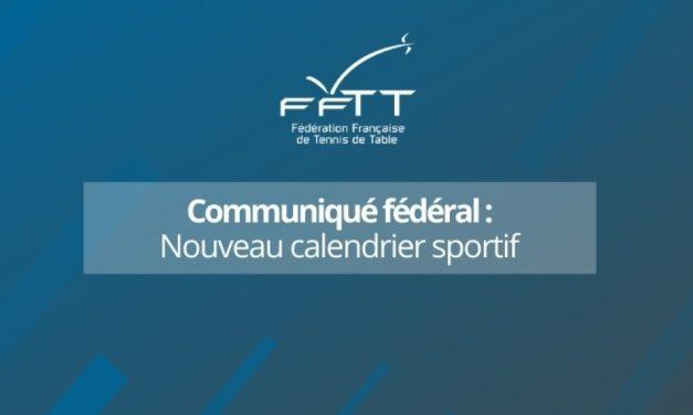 Nouveau Calendrier Sportif – Communiqué FFTT du 16 novembre 2020
