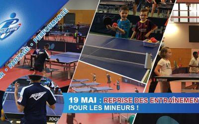REPRISE DES ENTRAINEMENTS POUR LES MINEURS LE 19/05 !