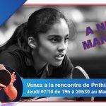 Prithika Pavade en visite au Mans jeudi 07/10/2021